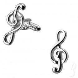 Spinki do mankietów - klucz wiolinowy, srebrne