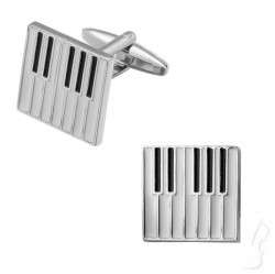 Spinki do mankietów - klawiatura, srebrne