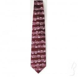 Krawat z zapisem nutowym Bacha, bordowy