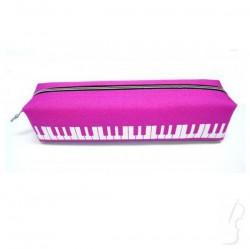 Piórnik z motywem klawiatury, różowy
