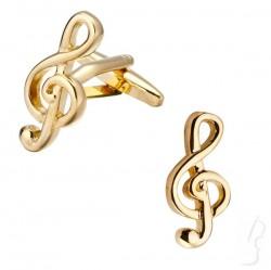 Spinki do mankietów - klucz wiolinowy, złote