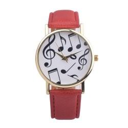 Zegarek z motywem nutek, czerwony