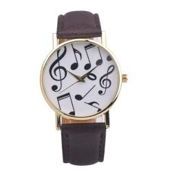 Zegarek z motywem nutek, brązowy