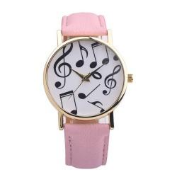 Zegarek z motywem nutek, różowy